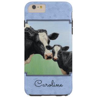 Funda Resistente iPhone 6 Plus Azul de cielo lindo del becerro y de la vaca de