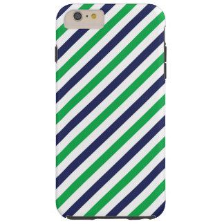 Funda Resistente iPhone 6 Plus Caja azul y verde del iPhone 6/6s de la raya
