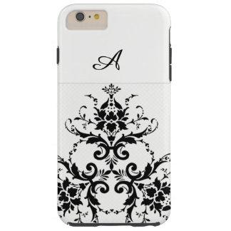 Funda Resistente iPhone 6 Plus Caja blanca y negra del teléfono del damasco