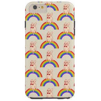 Funda Resistente iPhone 6 Plus Frenchie celebra mes del orgullo en el arco iris