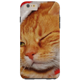 Funda Resistente iPhone 6 Plus Gato anaranjado - gato de Papá Noel - Felices