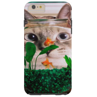 Funda Resistente iPhone 6 Plus Gato y pescados - gato - gatos divertidos - gato