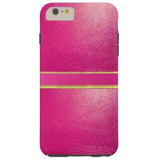 Funda Resistente iPhone 6 Plus Línea rosada caso del oro del cuero y del ante del