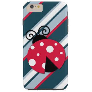 Funda Resistente iPhone 6 Plus Modelo blanco rojo de las rayas azules de la