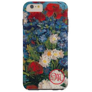 Funda Resistente iPhone 6 Plus Monograma de las flores de Van Gogh y de Elizabeth