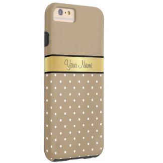Funda Resistente iPhone 6 Plus Monograma del oro. Lunar elegante del blanco de