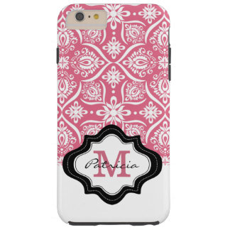 Funda Resistente iPhone 6 Plus Nombre rosado femenino del monograma del modelo