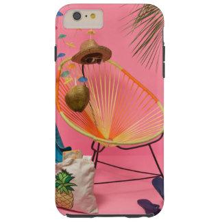 Funda Resistente iPhone 6 Plus Playa moderna tropical puesta en rosa