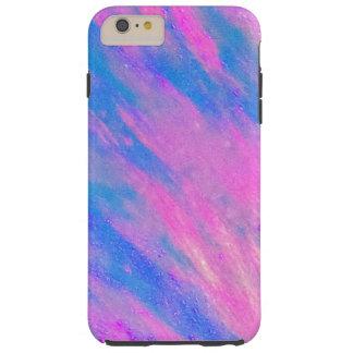 Funda Resistente iPhone 6 Plus Rosa y diseño diagonal azul de la onda