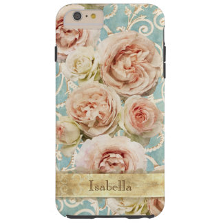 Funda Resistente iPhone 6 Plus Rosas elegantes de la herencia con el damasco