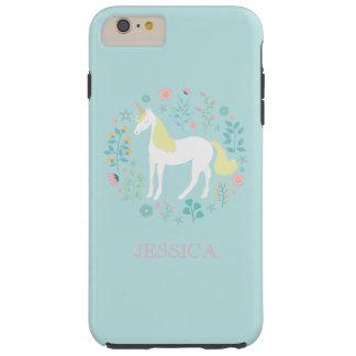 Funda Resistente iPhone 6 Plus Unicornio bonito y flores personalizados