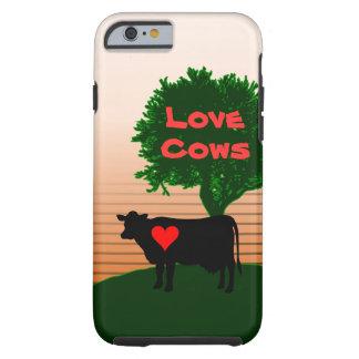 Funda Resistente iPhone 6 Silueta de la vaca de las vacas del amor con el