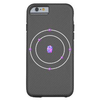 Funda Resistente Para iPhone 6 Átomo de carbono con el fondo de la fibra de
