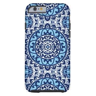 Funda Resistente Para iPhone 6 Batik, azules marinos y blanco al sudoeste de la