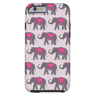 Funda Resistente Para iPhone 6 Elefantes de rosas fuertes grises bonitos en
