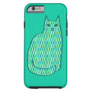 Funda Resistente Para iPhone 6 Gato, menta y verde lima modernos de los mediados