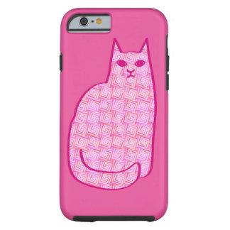 Funda Resistente Para iPhone 6 Gato moderno de los mediados de siglo, fucsia y