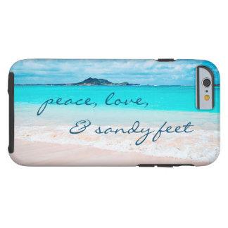 """Funda Resistente Para iPhone 6 Los """"pies de Sandy"""" citan el océano y la foto"""