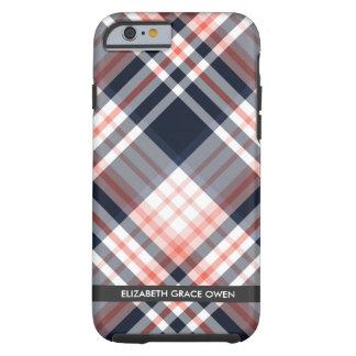 Funda Resistente Para iPhone 6 Monograma de la tela escocesa de la marina de