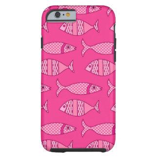 Funda Resistente Para iPhone 6 Pescados modernos retros, fucsia, rosa claro, de