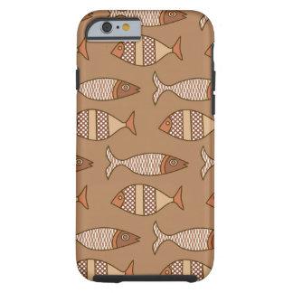 Funda Resistente Para iPhone 6 Pescados modernos retros, moreno, beige y marrón