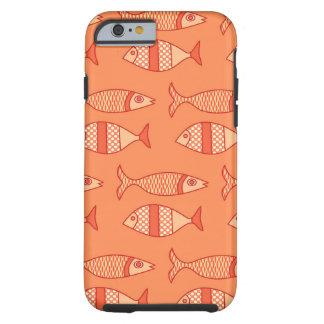 Funda Resistente Para iPhone 6 Pescados modernos retros, naranja coralino ligero