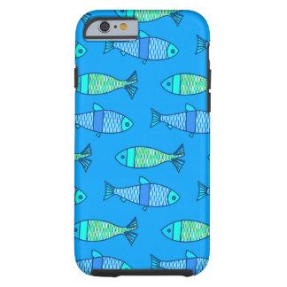 Funda Resistente Para iPhone 6 Pescados modernos retros, turquesa y azul cerúleo