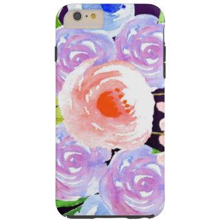 Funda Resistente Para iPhone 6 Plus Flores bonitas florales de la acuarela púrpura