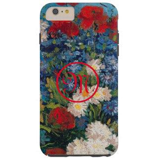 Funda Resistente Para iPhone 6 Plus Monograma de las flores de Van Gogh y de Elizabeth