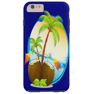 Funda Resistente Para iPhone 6 Plus Palmeras y bebidas del coco
