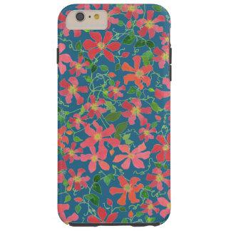 Funda Resistente Para iPhone 6 Plus Rosa del Clematis, rojo, floral anaranjado en azul