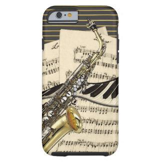 Funda Resistente Para iPhone 6 Saxofón y música del piano