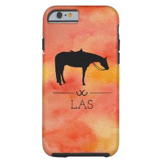 Funda Resistente Para iPhone 6 Silueta occidental negra del caballo en acuarela