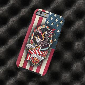 Funda Resistente Para iPhone 6 Tatuaje patriótico de Eagle calvo de la bandera