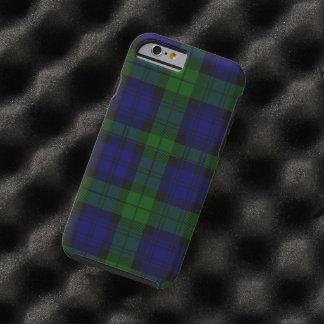 Funda Resistente Para iPhone 6 Tela escocesa negra del verde azul del tartán del
