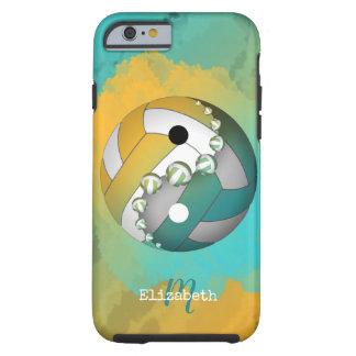 Funda Resistente Para iPhone 6 voleibol del yinyang del oro de la turquesa su