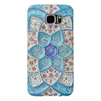 Funda Samsung Galaxy S6 Azules turquesas marroquíes tradicionales, blanco,