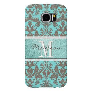 Funda Samsung Galaxy S6 Azules turquesas verde azuladas y damasco de