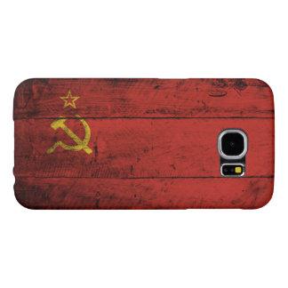 Funda Samsung Galaxy S6 Bandera de Unión Soviética en grano de madera