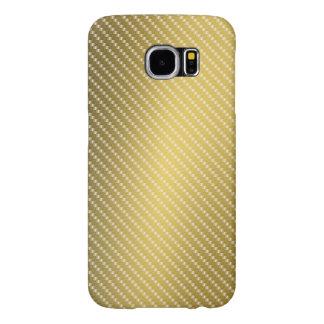 Funda Samsung Galaxy S6 Base del modelo de la fibra de carbono del oro