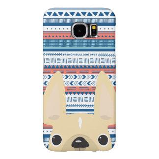 Funda Samsung Galaxy S6 Caso geométrico del amor del dogo francés