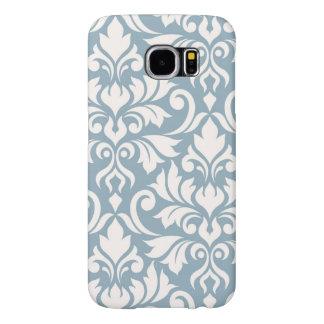 Funda Samsung Galaxy S6 Crema del arte I del damasco del Flourish en azul