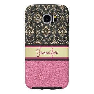 Funda Samsung Galaxy S6 El brillo rosado, oro negro remolina nombre del