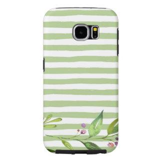 Funda Samsung Galaxy S6 El verde intrépido del arte de la acuarela raya