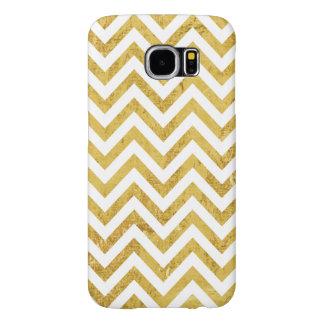 Funda Samsung Galaxy S6 El zigzag elegante de la hoja de oro raya el