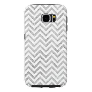 Funda Samsung Galaxy S6 El zigzag elegante de la hoja de plata raya el