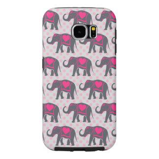 Funda Samsung Galaxy S6 Elefantes de rosas fuertes grises bonitos en