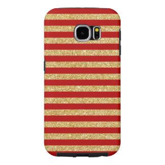 Funda Samsung Galaxy S6 Falso brillo elegante del oro y modelo rojo de la