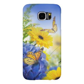 Funda Samsung Galaxy S6 Flores amarillas azules con las mariposas