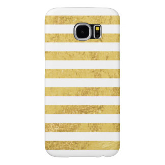 Funda Samsung Galaxy S6 Hoja de oro elegante y modelo blanco de la raya